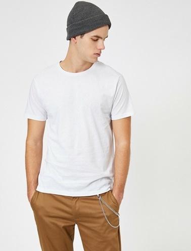 Koton Bisiklet Yaka %100 Pamuk Slim Fit Basic T-Shirt Beyaz